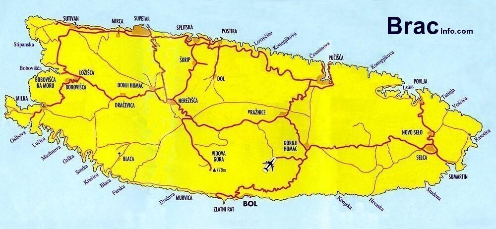 kart over brac Map of island Brac   BRAC Info.  Croatia kart over brac