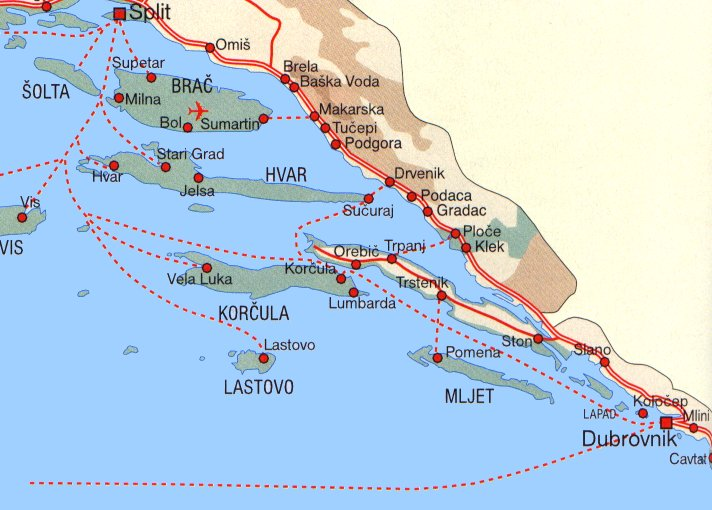 Brac Island Map Croatia